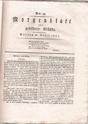 Original: 1. Seite einer Ausgabe des Cotta´schen Morgenblattes aus dem Jahre 1821, Foto: unbekannt
