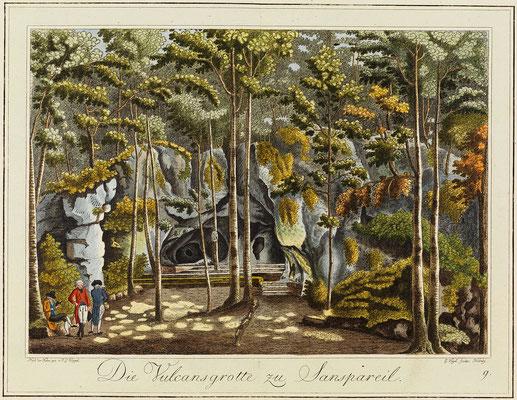 Die Vulkanshöhle, Zeichnung von Johann Gottfried Köppel, 1793