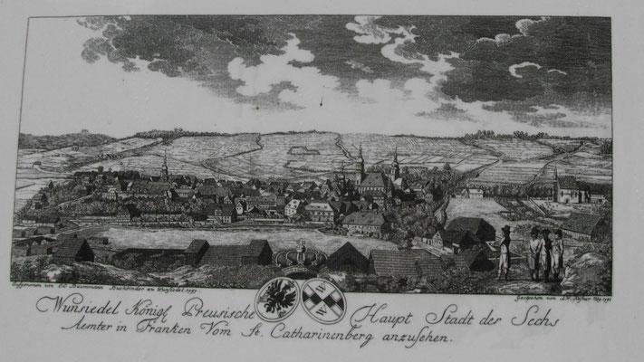 """Auf dem Jean-Paul-Weg, 4. Tafel """"Landschaft zu Jean Pauls Zeiten - Blick auf die Geburtsstadt"""""""