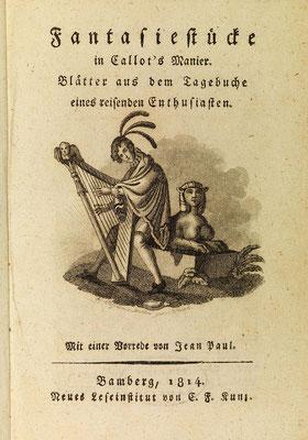 Titelvignette zu Band 1 der »Fantasiestücke in Callot's Manier«, Bamberg 1814 – Kupferstich von Carl Frosch nach Vorlage E. T. A. Hoffmanns, Staatsbibliothek Bamberg