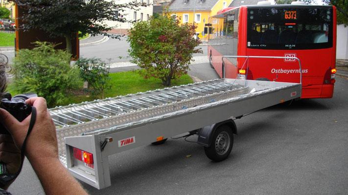 Bus vom Großen Waldstein nach Sparneck mit Fahrradanhänger