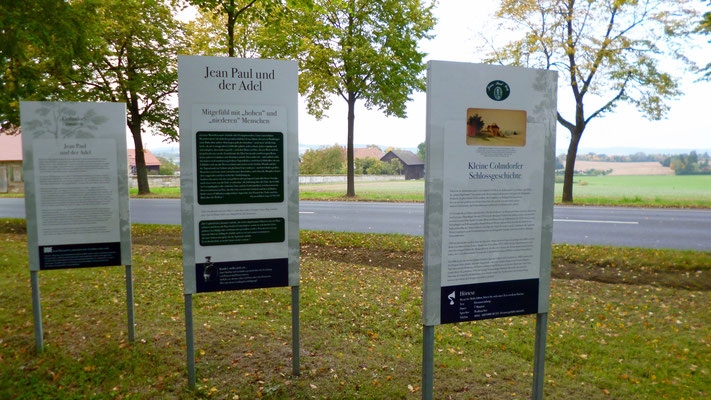 """Auf dem Jean-Paul-Weg, Groß- und Sonderstation 115 """"Jean Paul & der Adel"""" vor dem Colmdorfer Schlösschen"""