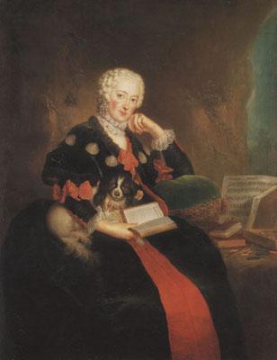 Markgräfin Wilhelmine mit Folichon, Gemälde von Antoine Pesne