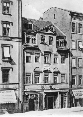 Richard Wagners Geburtshaus in Leipzig um 1885 (1886 abgebrochen)