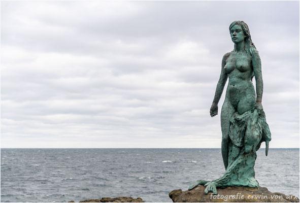 Die Robbenfrau ist dem Meer entstiegen und legt ihr Robbenfell ab