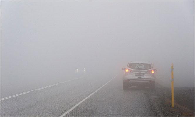 Island, im dichten Nebel