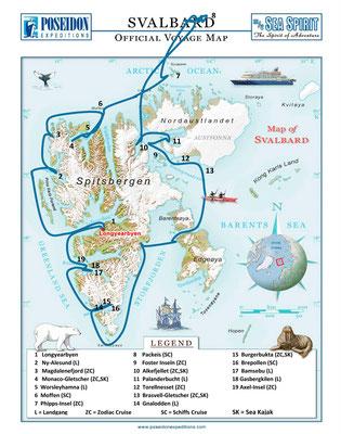Die die Route rings um Spitzbergen