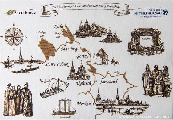 Die Reise führt von Zürich mit Edelweiss nach Moskau dann mit dem Schiff nach St.Petersburg und mit Edelweiss wieder nach Zürich
