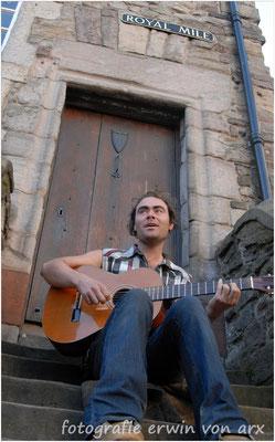 Schottland, Strassenmusikant in Edinburgh
