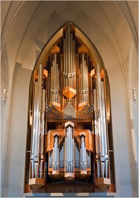 Island, Hallgrimskirkja von Reykjavik, die Orgel hat 5275 Pfeifen