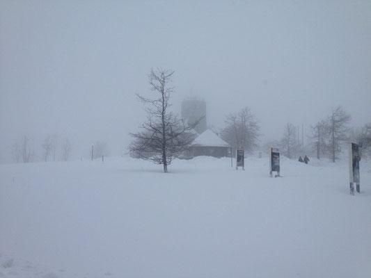 Der Aussichtsturm im Schneegestöber.
