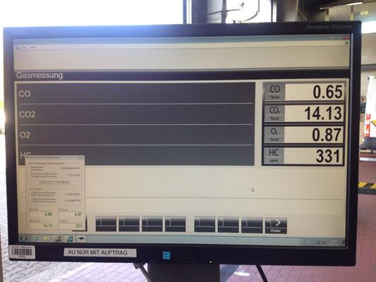 Unser Abgastester: Oben rechts wird das nun eingestellte CO-Gehalt angezeigt. Alle Werte sind VOR Kat über das CO-Messrohr am Krümmer gemessen!
