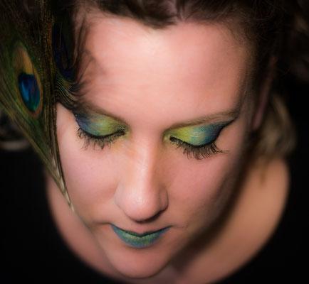 Peacock fantasy make up visagie Hardenberg