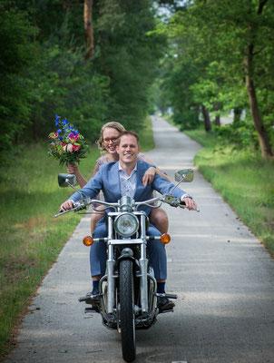 motor, trouwreportage, fotografie Hardenberg