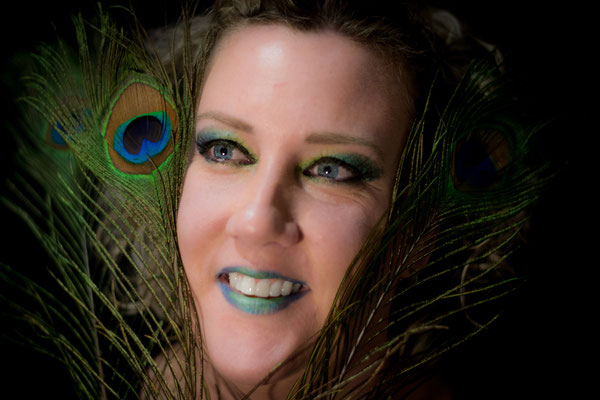 Peacock fantasy make up visagie Hardenberg