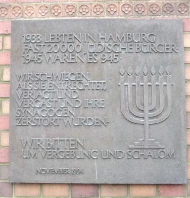 Gedenktafel an der St. Johanniskirche in Harvestehude
