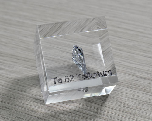 tellurium acrylic cube, metal acrylic cube, tellurium metal, tellurium crystals, tellurium element cube, tellurium acrylic, acrylic cubes of elements for collection and display