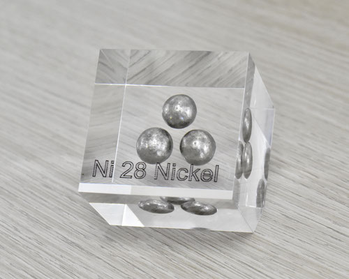 nickel acrylic cube, metal acrylic cube, nickel metal, nickel, nickel element cube, nickel spheres acrylic, acrylic cubes of elements for collection and display