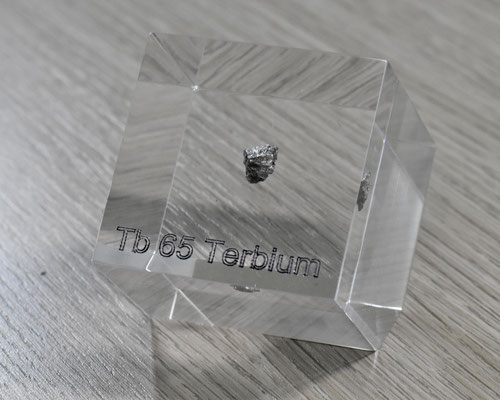 terbium acrylic cube, metal acrylic cube, terbium metal, terbium piece, terbium element cube, terbium acrylic, acrylic cubes of elements for collection and display