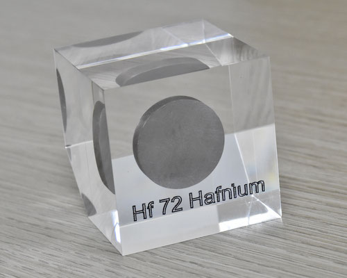 hafnium acrylic cube, metal acrylic cube, hafnium metal, hafnium, hafnium element cube, hafnium acrylic, acrylic cubes of elements for collection and display