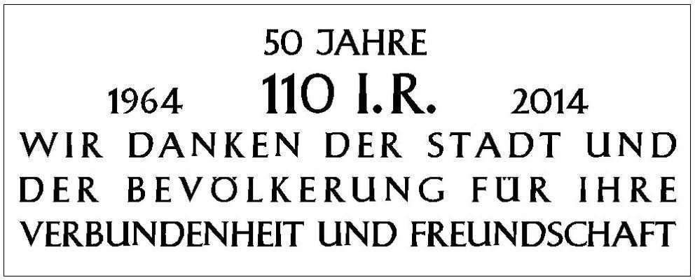 Plaque commémorative en allemand pour les 50 ans de présence du 110° R.I. à Donaueschingen.