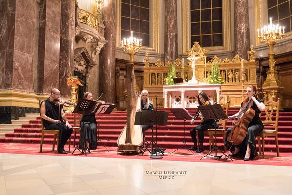 Hauptstadtharfe Simonetta Ginelli mit Streichquartett 2017 im Berliner Dom | Copyright Marcus Lienhard