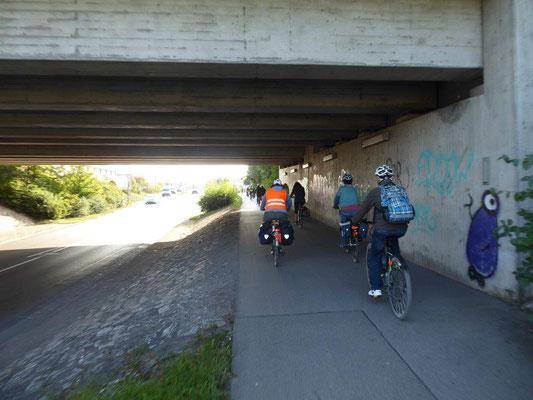 19. September 2020 Kolping Fahrrad- Überraschungs- Fahrt Unterführung Stuttgarter Straße