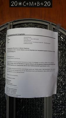 28 März 2020 Corona Stoppt auch die Öffnung der Pfarrbüros