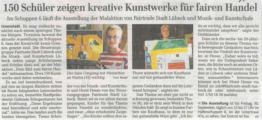 Ausstellung zum Fairen Handel im Schuppen 6, Lübecker Nachrichten vom 27.9.2016