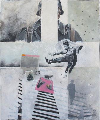 """""""Versetzt Glauben Berge?"""" 106 x 140 cm Acryl, Papier auf Sperrholz 2017"""