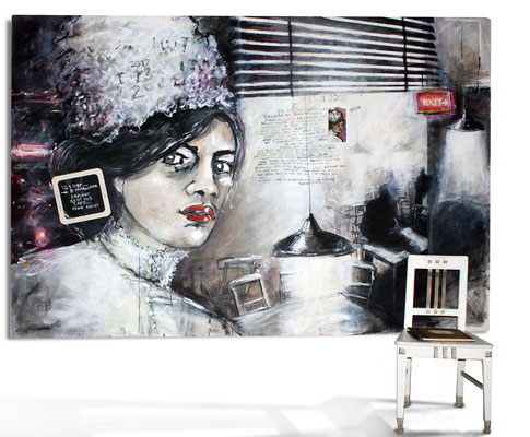 """""""8 years later - Daphne im Cafe, keine Angst"""", 300 x 195 cm"""