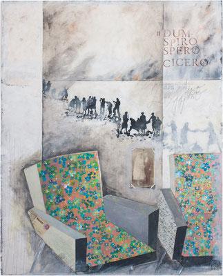 """""""Dum spiro, spero - solange ich atme, hoffe ich"""" 106 x 140 cm Acryl, Papier auf Sperrholz 2017"""