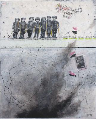 """""""... weg bist du noch lange nicht."""" 106 x 140 cm Acryl, Papier auf Sperrholz 2017"""