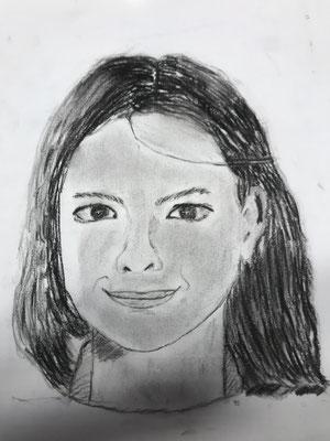 Selbstbildnis Anouk (Kohle)