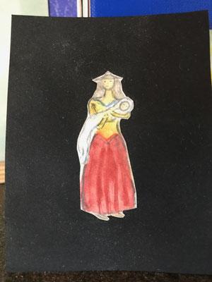 Mutter mit Kind, Miniature, ca 15x40 mm,