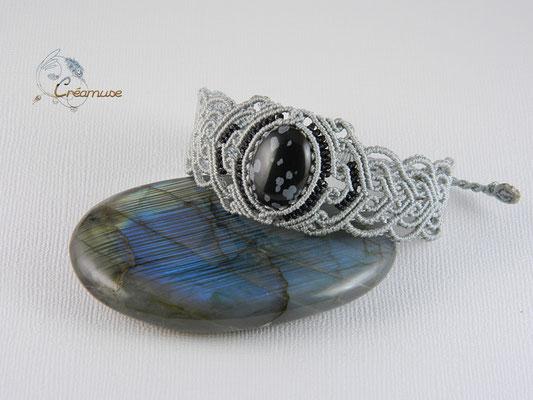 Bracelet Macramé Obsidienne Flocons de Neige