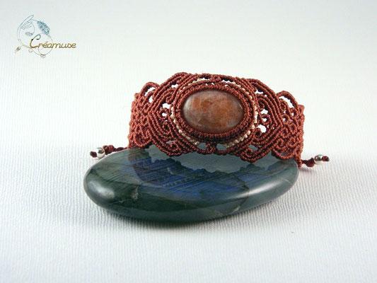 Bracelet Macramé Pierre de Soleil Naturelle