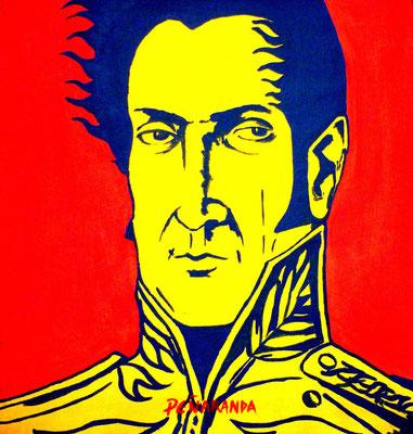 """Titre """"Bolivar"""" (2014) / 30 cm x 27 cm / Peinture à l'acrylique sur toile / Prix : 1500€"""