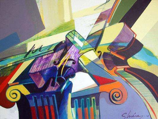 """Titre """"Abrazados en la columna"""" (2010) / 81 cm x 65 cm / Peinture à l'acrylique sur toile / Prix: 4500€"""