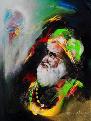 """Titre """"Faith N°4"""" (2015) / 61 cm x 46 cm / Peinture à l'acrylique sur toile / Prix: 1500€"""