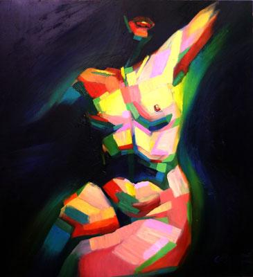 """Titre """"Cubistic Sitting Nude"""" (2014) / 80 cm x 73 cm / Peinture à l'huile sur panneau en bois / Prix: 4800€"""