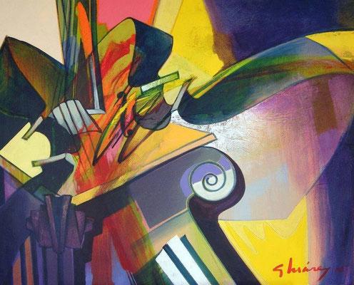 """Titre """"Encuentro entre columnas"""" (2010) / 73 cm x 60 cm / Peinture à l'acrylique sur toile / Prix: 3800€"""