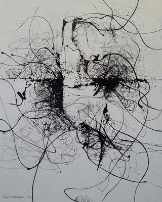 """Titre """"Unveiled"""" (2014) / 170 cm x 140 cm / Peinture glycérophtalique sur toile / Prix: 8000€"""