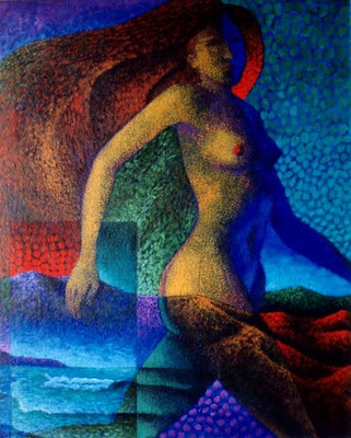 """Titre """"Le Vent"""" (1998) / 61 cm x 51 cm / Peinture à l'acrylique sur toile / Prix: 2200€"""