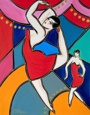 """Titre """"Gala des étoiles"""" (2015) / 50 cm x 40 / Peinture à l'acrylique sur toile / Prix: 800€"""