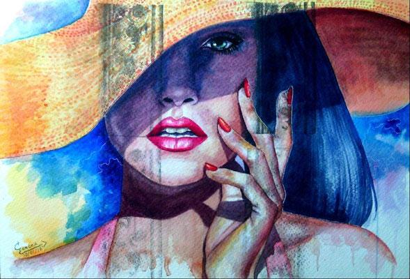 """Mujer con sombrero"" (2015) / 52 cm x 35 cm / Aquarelle sur papier / Prix : 1200€"