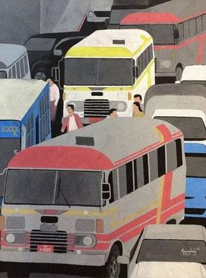 """Titre """"Yangon Road N°3"""" (2014) / 122 cm x 91 cm / Peinture à l'acrylique sur toile / Prix: 2500€"""