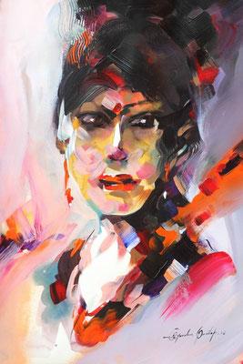 """""""Emotion N°1"""" (2016) / 46 cm x 33 cm / Acrylique sur papier / Prix :  950 €"""