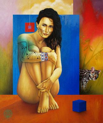 """Titre """"Golden Skin"""" (2014) / 119 cm x 99 cm / Technique mixte : peinture à l'acrylique et à l'huile sur toile / Prix: 11 000€"""