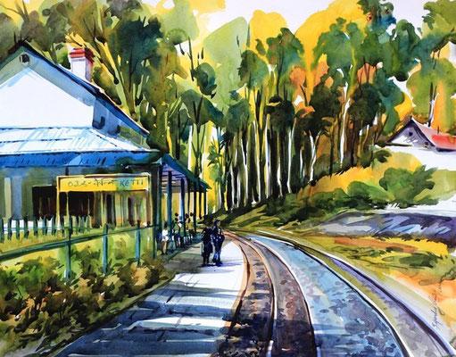 """""""A Railway Station"""" (2014) / 61 cm x 41 cm / Aquarelle sur papier / Prix : 900€"""